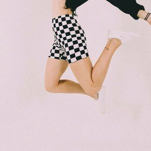 Checkerboard biker shorts